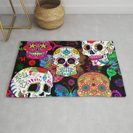 Rocking Color Sugar Skull Day Of The Dead Rug