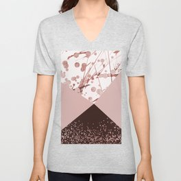 Contemporary geometric pink brown rose gold confetti art Unisex V-Neck