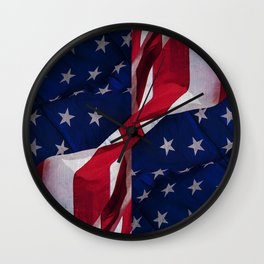RED, WHITE AND BLUE Wall Clock