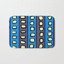 Lines and Circles Dark Gray and Blue Bath Mat