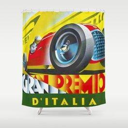 1949 Italian Grand Prix Ascari Motor Racing Vintage Poster Shower Curtain