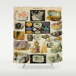 Minerals Vintage Scientific Illustration French Language Encyclopedia Lithographs Educational Diagra Shower Curtain