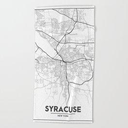Minimal City Maps Map Of Syracuse New York United States Beach Towel