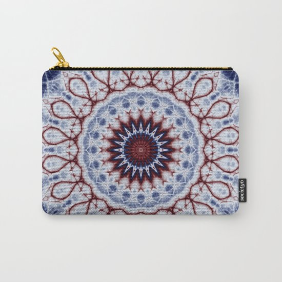 Mandala Fractal in Red White and Blue 01 Carry-All Pouch