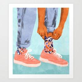 Pull Up Those Pretty Socks! #painting #illustration Art Print