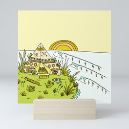 teepee living simply in paradise // retro surf art by surfy birdy Mini Art Print