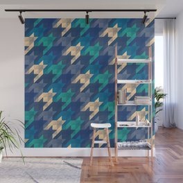 Origami houndstooth blues Wall Mural