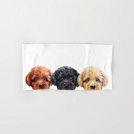 Toy poodle trio, Dog illustration original painting print Hand & Bath Towel
