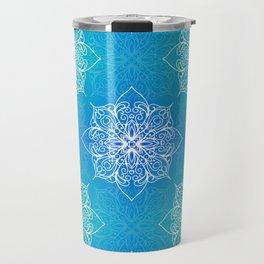 Aqua Mandala Pattern Travel Mug