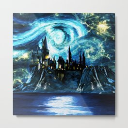 Starry Night Hogwarts Metal Print