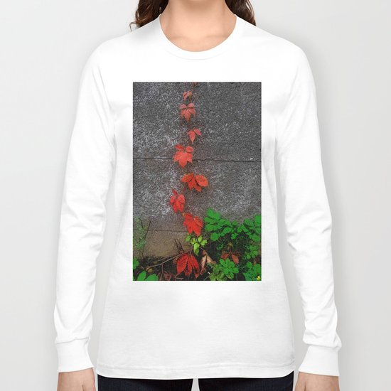 Red and green leaves on the wall Long Sleeve T-shirt
