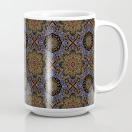 Royal Gold highlights in Princess blue and Jester Red ornamental flower motif Coffee Mug