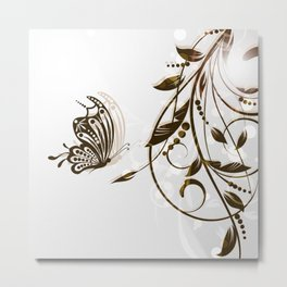 Butterfly Brown Butterfly In The Sun Metal Print