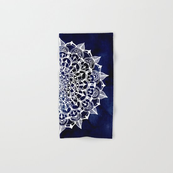 White Lace Medallion on Ink Blue Hand & Bath Towel