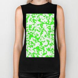 Spots - White and Neon Green Biker Tank