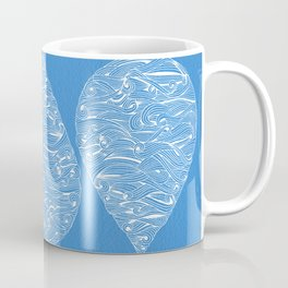 Water Drop – White Ink on Blue Coffee Mug