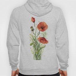 Red Poppies Watercolor Flower Floral Art Hoody
