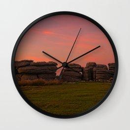 Bright Orange Sunset At Combestone Tor Wall Clock