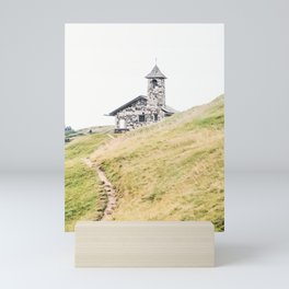 Dolomites V [ South Tyrol, Italy ] Stone Church in Seceda Mountain⎪Colorful travel photography Poster Mini Art Print