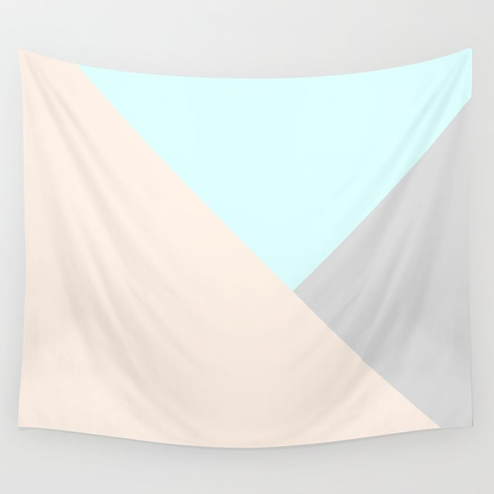 Pastel blue gray color block triangles geometrical Wall Tapestry