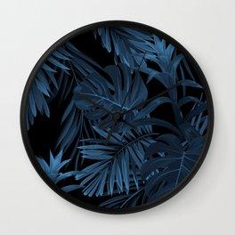 Dark indigo tropical Wall Clock