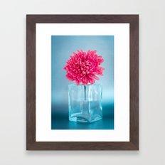 LE NOBLE - Pink flower in blue glass vase Framed Art Print