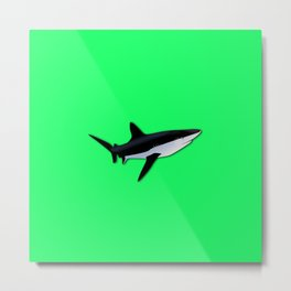 Great White Shark  on Acid Green Fluorescent Background Metal Print