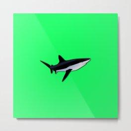 Great White Shark  on Acid Green Fluorescent Background Metal Print
