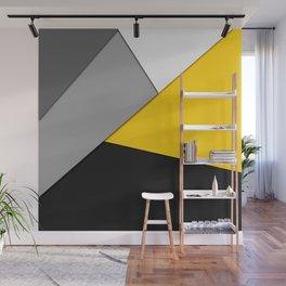 Simple Modern Gray Yellow and Black Geometric Wall Mural