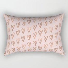 Pink Glam Hearts Rectangular Pillow