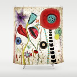Vintage Rustic Wonderland Flowers Shower Curtain