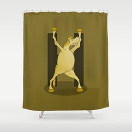 Pony Monogram Letter H Shower Curtain