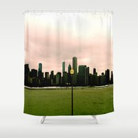 michigan Shower Curtains featuring Lake Michigan by Paper Possible