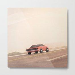 Fast muscle car, speeding through the desert Metal Print