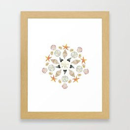 Florida Beachcombing Mandala 1 - Watercolor Framed Art Print