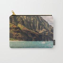 Na Pali Coast Kauai Hawaii Printable Wall Art   Tropical Beach Nature Ocean Coastal Travel Photography Print Carry-All Pouch
