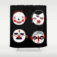 superheroes Shower Curtains featuring SUPERHEROES by Riku Ounaslehto