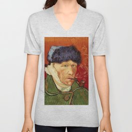 Vincent van Gogh Self-portrait with Bandaged Ear and Pipe Unisex V-Neck