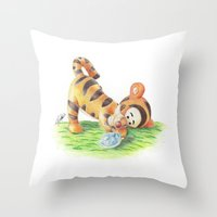 ninja turtle Throw Pillows featuring Baby Tigger and Ninja Turtle by lilypencilfeed
