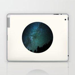 Mid Century Modern Round Circle Photo Milky Way Galaxy Blue Green Star Night Sky Laptop & iPad Skin