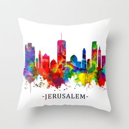 Jerusalem Israel Skyline Throw Pillow