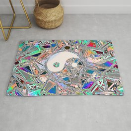 Colorful Home decor Acrylic Liquid chrome Yin and Yang Art Rug