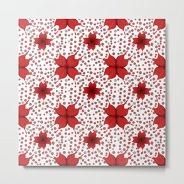 polka dots background with red flowers Metal Print