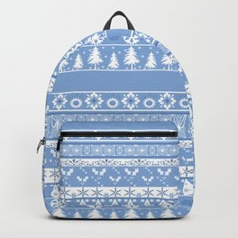 Seamless christmas ornament pattern on blue background Backpack