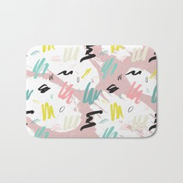 Watercolor white  pink teal abstract memphis brushstrokes Bath Mat