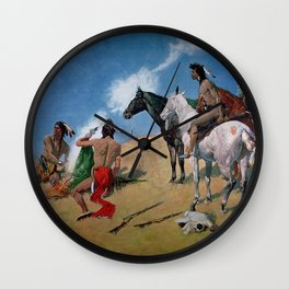 "Frederic Remington Western Art ""Smoke Signals"" Wall Clock"