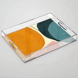 shapes geometric minimal painting abstract Acrylic Tray
