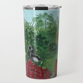 """Henri Rousseau """"Tropical Forest with Monkeys (A Tropical Forest with Apes and Snake)"""" Travel Mug"""