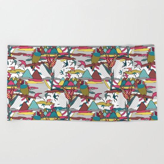 Pop art memphis 80's bird print Beach Towel