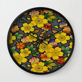 Antique Color Blossom Wall Clock